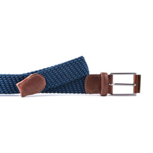 blue and brown man belt