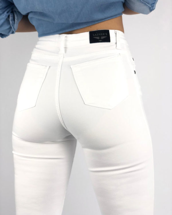 Jeans mujer lazhers blanco