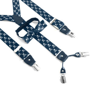 skull suspenders and bow ties