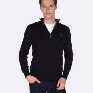Half zip cotton sweater